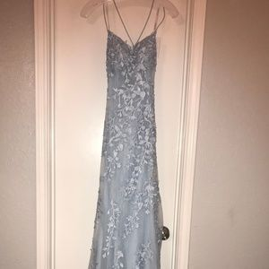 Light Blue Sherri Hill 52338 Laced-Up Back Dress